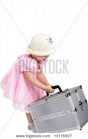 Young pretty girl travelling. Shot in studio. Isolated with clipping path.