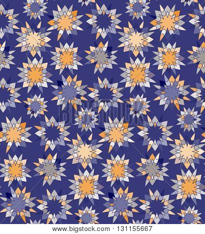 Seamless pattern with abstract starry ornament in blue and yellow colors. Vector illustration