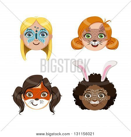 Girls Portraits With Painted Faces Bright Color Cartoon Childish Style Flat Vector Drawings Isolated On White Background