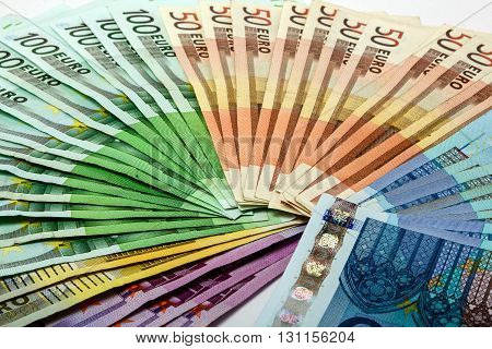 Colorful Money Fan Of Different Euro Notes 500 200 100 50 20
