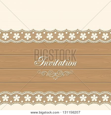Retro lace background. Template for wedding invitation or greeting card with lace border. Illustration in retro style. Vector