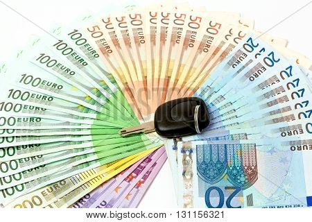 Money Fan Of Euro Notes For The Purchase Of Automobiles