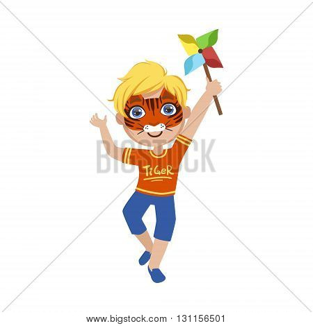 Boy With Tiger Make Up Bright Color Cartoon Childish Style Flat Vector Drawing Isolated On White Background