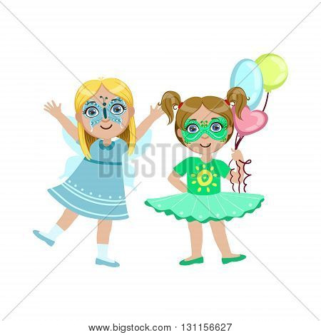Two Girls With Painted Faces Bright Color Cartoon Childish Style Flat Vector Drawing Isolated On White Background