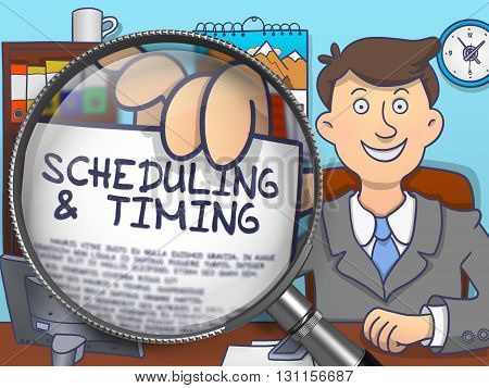 Scheduling and Timing on Paper in Business Man's Hand through Lens to Illustrate a Time Management Concept. Multicolor Doodle Style Illustration.