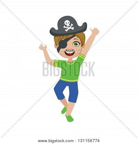 Boy In Pirate Make Up Bright Color Cartoon Childish Style Flat Vector Drawing Isolated On White Background