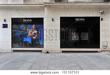BELGRADE SERBIA - APRIL 30: View of Hugo Boss flagship store in Belgrade on April 30 2016. Hugo Boss is a world famous fashion house founded in Germany.