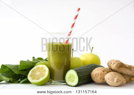 Healthy drink with spinach isolated on white background