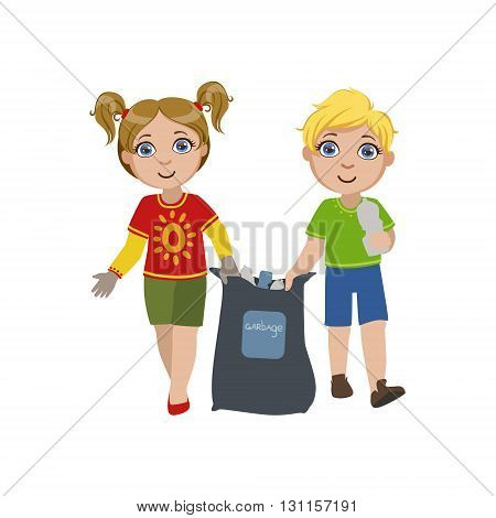 Kids Collecting Garbage Bright Color Simple Style Flat Vector Illustrations On White Background