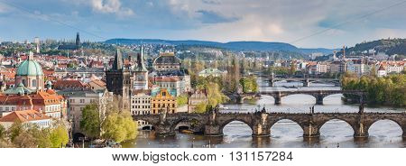 Prague, Czech Republic bridges skyline with historic Charles Bridge and Vltava river in the afternoon.