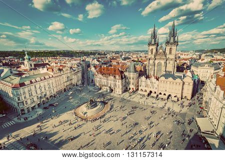 Old Town of Prague, Czech Republic. View on Tyn Church and Jan Hus Memorial on the square as seen from Old Town City Hall. Vintage