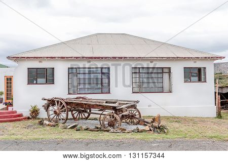 A historic ox-wagon on display next to the main street in Wolwefontein a small village between Kirkwood and Jansenville in the Eastern Cape Province