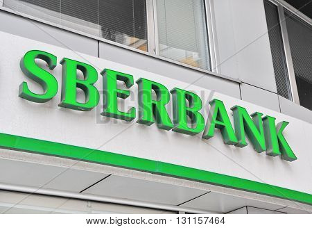 BELGRADE SERBIA - APRIL 30: Logotype of Sberbank corporation in Belgrade on April 30 2016. Sberbank is a Russian banking company headquartered in Moscow.