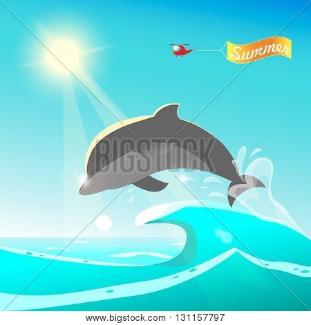 Dolphin jumping from blue ocean. Summer background design. Helicopter Summer banner greeting. Cartoon colorful vector illustration. Sunny summer day seascape. Cute happy dolphin playing in waves.