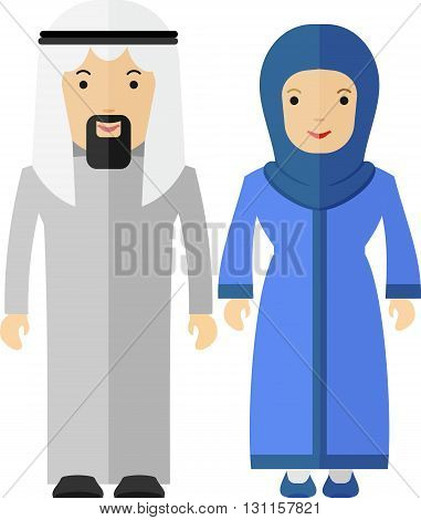 Arabian couple man and women. Objects isolated on a white background. Flat vector illustration.