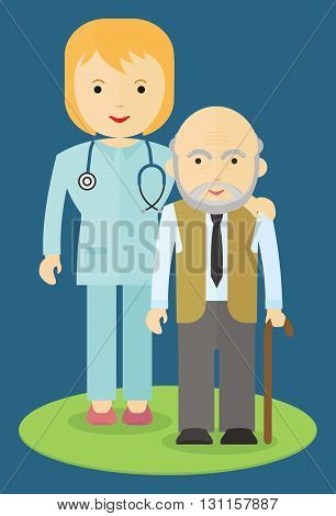 Doctor helping an elderly man to walk. Caring for the elderly. The support and cooperation. Respect for old age.