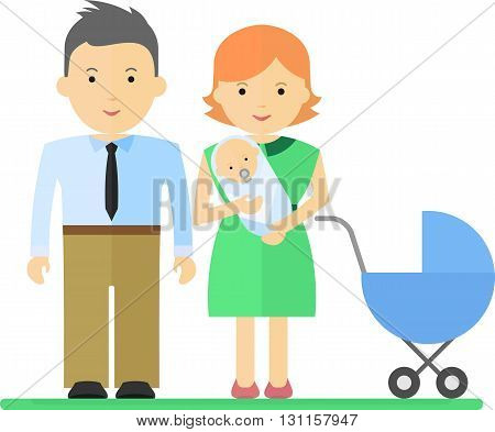 Happy parents embracing newborn son. Objects isolated on a white background. Flat vector illustration.