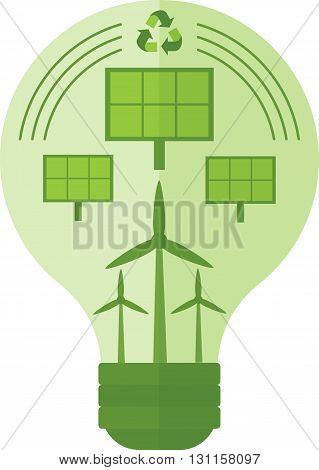 Conceptual image of eco-friendly energy. Wind and solar energy saves the environment. Objects isolated on a white background. Flat vector illustration.
