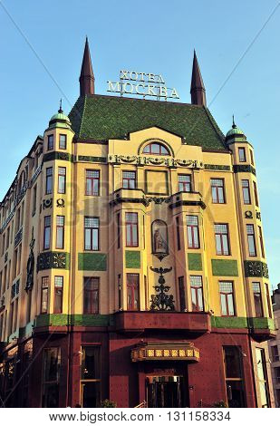 BELGRADE SERBIA - APRIL 30: Facade of the Moscow hotel in city centre of Belgrade on April 30 2016. Belgrade is a capital and largest city of Serbia.