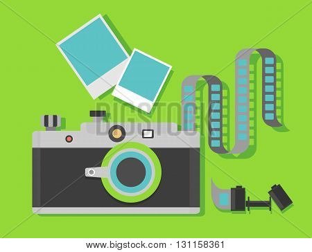 Camera with film with the film reel on a green background. Objects isolated on background. Flat vector illustration.