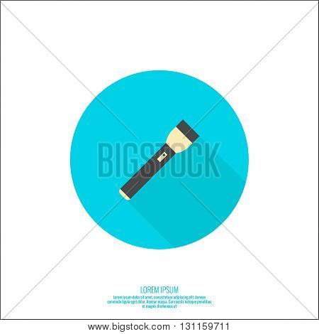 Vector icon with flashlight. Vector flat flashlight illustration. Button in flat style with long shadow. Pocket flashlight icon.
