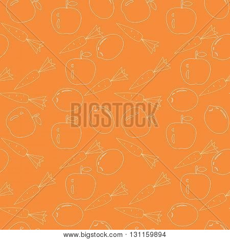 Vegetable set. Seamless vegetable and fruit pattern. Contour drawing. White outline Set for juice
