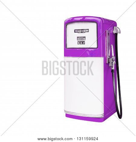 purple retro fuel dispenser isolated on white background with clipping path