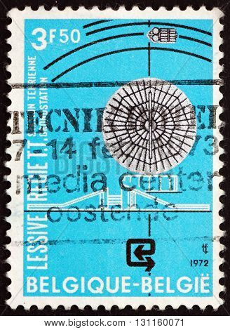 BELGIUM - CIRCA 1972: a stamp printed in the Belgium shows Radar Station Intelsat 4 Opening of the Lessive Satellite Earth Station circa 1972