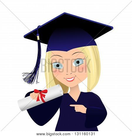 Vector illustration of graduating young student. Cute girl in graduate gown and mortarboard squeare academic cap in cartoon style.
