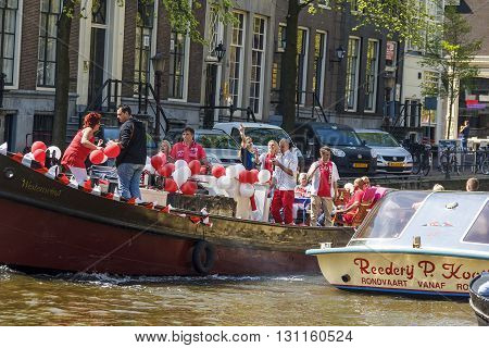 Amsterdam, Netherlands - May 5: The residents of Amsterdam celebrate Independence Day on the boat