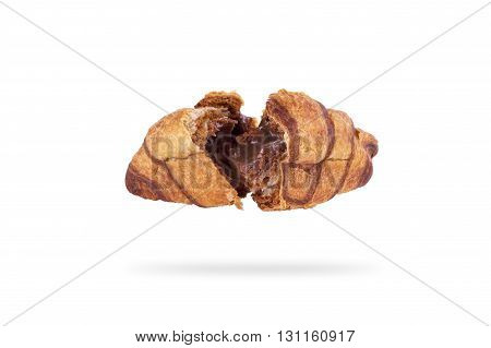 croissant with chocolate filling on a white background