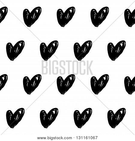 Doodle hearts monochrome childish seamless pattern vector background.