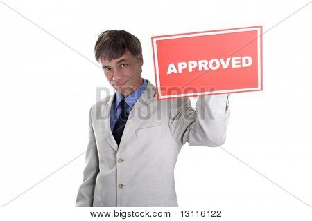 Portrait of a middle age businessman. Shot in studio. Isolated with clipping path. Your can change red inscription.