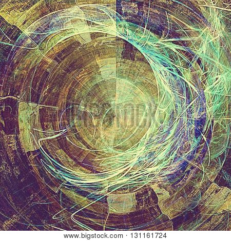 Spherical grunge design composition over ancient vintage texture. Creative background with different color patterns: yellow (beige); brown; green; blue; gray; purple (violet)