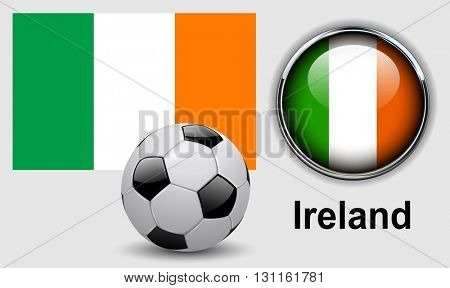 Ireland flag icons with soccer ball, vector design.