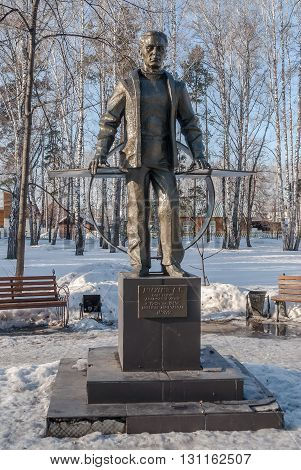 Zavodoukovsk, Russia - April 3, 2010: Monument to Moskalev A.S. Soviet aircraft designer. From 1942 to 1945 the plant manager No. 422
