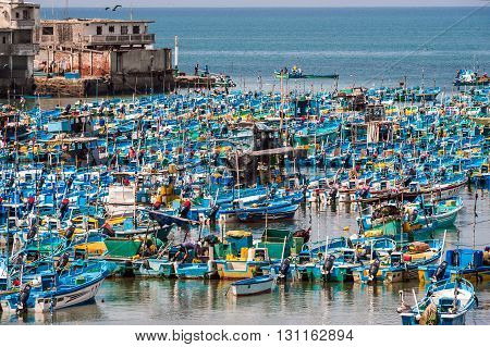 Salinas Ecuador - September 17 2011: Fishing boats crowded in the Bay of Santa Elena