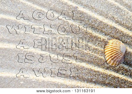 Life Quote. Inspirational Quote On Sand Background With Sea Shell. Motivational Typography. Uneven T