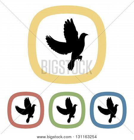 Dove colorful icon. Set of black and white icons