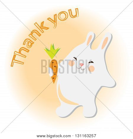 Vector illustration of cute rabbit with carrot
