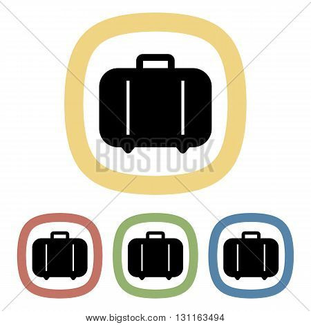 Black icon of suitcase. Black icon of suitcase