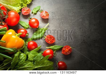 Organic fresh vegetables. Healthy eating and Diet concept. Vegan food background.