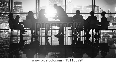 Silhouette Business People Meeting Discussion Conference Concept