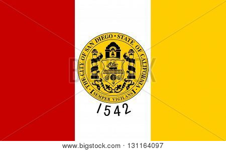 Flag of San Diego is a major city in California on the coast of the Pacific Ocean in Southern California