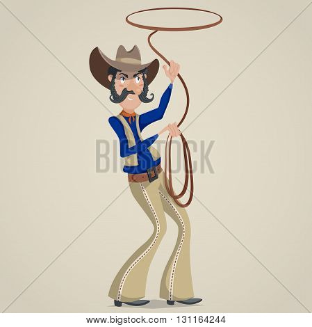 Cowboy with lasso. Funny cartoon character. Vector illustration in retro style