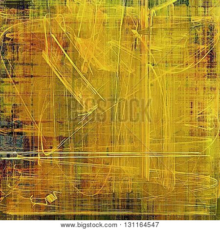 Grunge texture or background with retro design elements and different color patterns: yellow (beige); brown; green; red (orange); gray