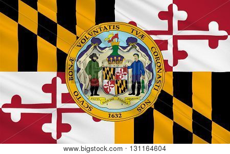 Flag of Maryland is a state located in the Mid-Atlantic region of the United States