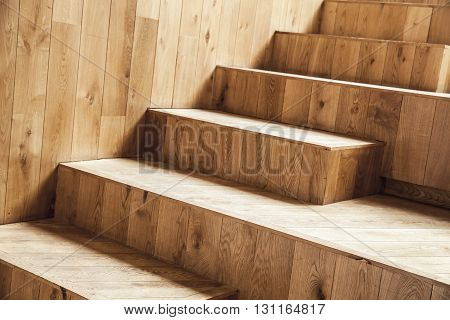 Interior Fragment, Uncolored Wooden Stairs