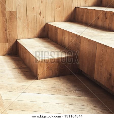 Abstract Empty Interior, Wooden Stairs