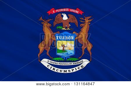 Flag of Michigan is a state located in the Great Lakes and midwestern regions of the United States